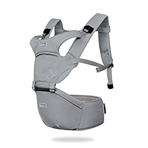 SONARIN Front Premium Hipseat Baby Carrier, Multifunctional, Ergonomic, 100% cotton, butterfly rotary buckle, 6 Carrying Positions,Safe and Comfortable, Adapted to Your Child's Growing,Easy to Carry and Easy Mom, Ideal Gift(Gray)