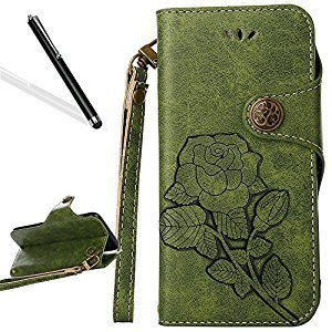 Flip Case for Huawei P9 Lite,Wallet Case for Huawei P9 Lite,Leeook Retro Elegant Green Rose Flower Leaf Creative Pattern Design Luxury PU Leather Magnetic Closure Buckle Flip Wallet Folio Inner Soft TPU Case with Card Slots Stand Function Book Style Strip