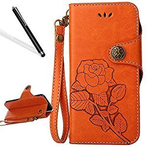 Galaxy S8 Flip Case,Galaxy S8 Wallet Case,Leeook Retro Elegant Orange Rose Flower Leaf Creative Pattern Design Luxury PU Leather Magnetic Closure Buckle Flip Wallet Folio Inner Soft TPU Case with Card Slots Stand Function Book Style Strip Bumper Cover Case