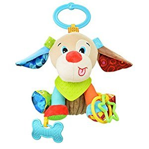 Baby Infant Rattle Animal Multifunction Appease Doll Stroller Hanging Bell Carseat Bed Toy (Dog)