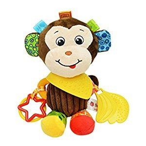 Baby Infant Rattle Animal Multifunction Appease Doll Stroller Hanging Bell Carseat Bed Toy (Monkey)