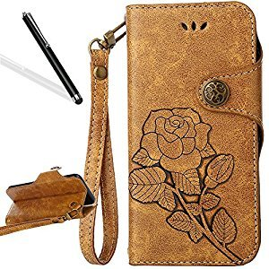 Flip Case for Huawei P9 Lite,Wallet Case for Huawei P9 Lite,Leeook Retro Elegant Light Brown Rose Flower Leaf Creative Pattern Design Luxury PU Leather Magnetic Closure Buckle Flip Wallet Folio Inner Soft TPU Case with Card Slots Stand Function Book Style