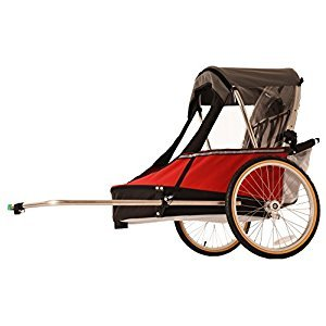 Wike Softie Double 3 in 1 Bicycle Trailer + Strolling + Jogging with Suspension - Red/Gray