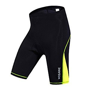 WOSAWE NEW Outdoor Sportswear Women Riding Shorts Bike Clothes Bicycle Cycling Clothing 3D Padded Short Pants Breathable (Black with Green color) Size XL