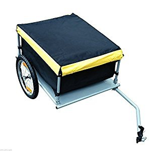 Aosom Bicycle Cargo Trailer Bike Large Carrier Cart w/ Rain Cover Outdoor Yard