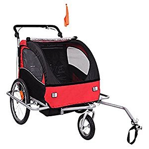 Baby Diego Bike Trailer/Jogger, Red/Black