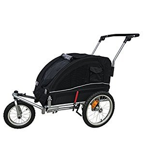 Booyah Medium Dog Stroller & Pet Bike Trailer with Suspension - Black (Black)