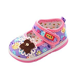 Baby Shoes, Perman Baby Boys Girls Floral Soft Sole Prewalker Sandals First Walker Anti-Slip Toddler Shoes (36-42Months, Purple)