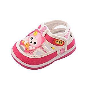Baby Shoes, Perman Baby Boys Girls Soft Sole Prewalker Sandals First Walker Cartoon Anti-Slip Squeaky Sneakers (12-18Months, Pink)