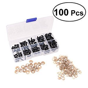 TOYMYTOY 100pcs 6 8 9 10 12mm Mini Black Plastic Safety Eyes with Washers for Doll Teddy Stuffed Animals Toys Dolls Accessories