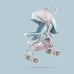 Baby Stroller Ultra Light Portable Folding Baby Umbrella Can Sit Lie Cart, Pink/blue, 57*44*88cm ( Color : Blue )