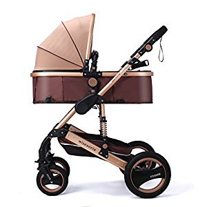 Baby Strollers Can Sit Reclining Lightweight Folding Shock Absorbers Stroller Explosion Proof Tire Stroller Aluminum Alloy Stand Independent Sleeping Basket Four Seasons Apply