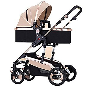 YBL Baby Stroller for Infant and Toddler City Select Folding Convertible Baby Carriage Luxury High View Anti-shock Infant Pram Newborn Doll carriage with Cup Holder and Rubber Four Wheels