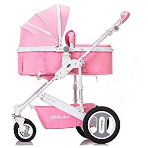 YBL Four rounds Two-way implementation Baby carriage High landscape Folding suspension baby stroller The choice of city Suitable for 0-3 year old baby Four Seasons Universal (Pink)