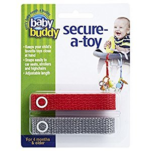 Baby Buddy 2-Count Secure-A-Toy, Red/Silver, 2-Pack