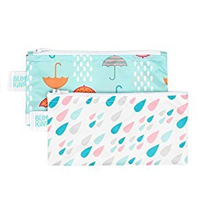 Bumkins Reusable Snack Bag, Small, 2 Pack, Raindrops and Umbrella