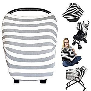 Nursing Breastfeeding Cover Scarf - Baby Car Seat Canopy, Shopping Cart, Stroller, Carseat Covers Best Baby Shower Gift for Girls and Boys - Multi-Use Infinity Stretchy Shawl (Color-2)