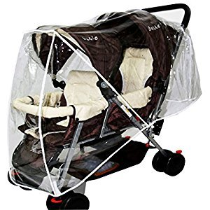 YUENA CARE Stroller Rain Cover Double Pushchair Buggy Wind Cover Tandem Universal