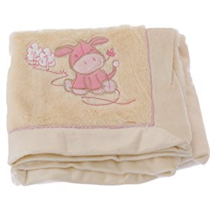 Baby Animal Design Super Soft Fluffy Feel Pram Blanket -Unisex/Boy/Girl Options (30.3 x 39inches) (Pink)