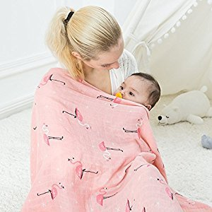 Dulcii Spring Outdoor Tour Bamboo Fiber Cotton Baby Infant Blanket Universal Stroller Sleeping Blanket,Stroller Blanket,Extra Soft,Pink,Shower Gift Baby Girl,120 x 120cm