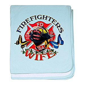 Royal Lion Baby Blanket Firefighters Wife Butterflies - Sky Blue