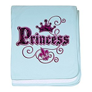 Royal Lion Baby Blanket Fleur De Lis Princess - Sky Blue