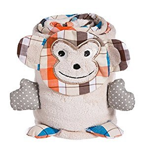 Tan Monkey Rolled Baby Blanket