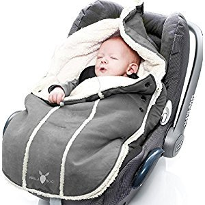 Wallaboo Bunting Bag Original, Luxurious Suede and Soft Faux Shearling, Fits Standard Size Car Seats , For 0 To 6 Months, Newborn, Grey