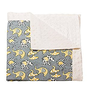 White Grey And Yellow Elephant Lil Peanut Printed Minky Dot Blanket
