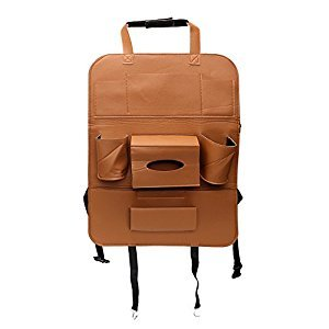Car Seat Organizer Multifunctional Storage Bag Hanger Leather Seat Back Cover Storing Pock leather Car Storage Bag