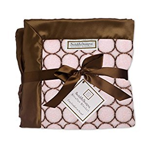SwaddleDesigns Stroller Blanket, Brown Mod Circles, Pastel Pink