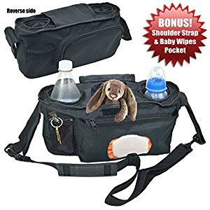 Angel Baby Stroller Organizer Diaper Bag w/ SHOULDER STRAP & WIPES POCKET - Universal with Double Insulated Cup Holders and Back Zipper Pocket for Stroller Accessories (25.5in x 4in.)