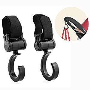 Cisixin 2 Pack of Multi Purpose Hooks - Hanger for Baby Diaper Bags, Groceries, Clothing, Purse - Great Accessory for Mommy when Jogging, Walking or Shopping