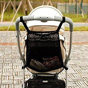 Stroller bag , Fushop mesh net organizer for baby strollers , stroller cargo net(black)
