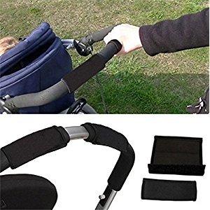 2 pcs/Lot Black Pram Baby Stroller Carriage Front Handle Bumper Bar Cover Soft Stroller Armrests EVA Oxford Fabric Cover Protect