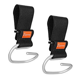 Eggsnow Stroller Hook(2 Pack) ,Baby Stroller Hanger Clip, Adjustable Universal Hook ,Durable for Purse/Toys/Shopping/Accessories. Aluminum-Black