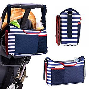Kyson Navy Stripe Stroller Pram Buggy Organizer Storage Bag with 1 Removable Baby Diaper Changing Pad Large Organizer for Phone, Diapers, Toys and Accessories