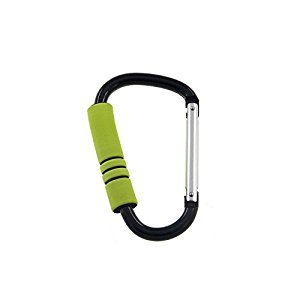 Snowmanna-1PC XL Carabiner with Thickening Colorful Sponge Mummy Buggy Clips Shopping Buckle Pushchair Pram Hook for Baby Stroller, Diaper Bags, Roller Shoes,Toys Plus Free Bonus Keyrings(Green)
