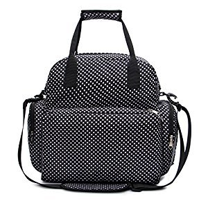 iSuperb Diaper Bag Momi Mummy Bag Baby Diaper Backpack Polka Dot Water Resistant Roomy Shoulder Tote Bag Handbag 13.4 x 13.4 x 4.7 inch with Pail Liner (Black)