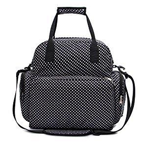 iSuperb Diaper Bag Momi Mummy Bag Baby Diaper Backpack Polka Dot Water Resistant Roomy Shoulder Tote Bag Handbag 13.4 x 13.4 x 4.7 inch with Pail Liner (Black)