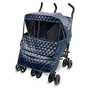 [Manito] Castle Alpha Twin Cover / Cover for Twin Baby Stroller and Pushchair, Rain Cover, Wind Weather Shield for outdoor strolling, Eye Protective Wide Windows (Navy)