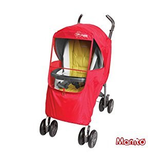 [Manito] Elegance Plus Cover / Cover for Baby Stroller and Pushchair, Rain Cover, Wind Weather Shield for outdoor strolling, Eye Protective Wide Windows (Red)