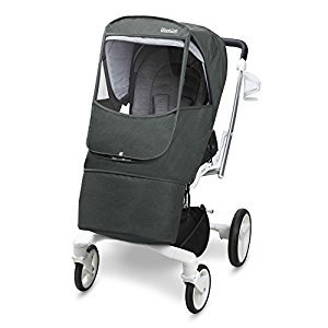 [Manito] Melange Beta Cover / Cover for Baby Stroller and Pushchair, Rain Cover, Wind Weather Shield for outdoor strolling, Eye Protective Wide Windows (Gray)