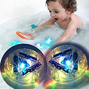 2 Packs Bathroom LED Light Toys - Wonder4 New Upgrade Babys Interesting Bathing Toys Waterproof Funny Bathroom Bathing Tub LED Light Toy for Bathtub Play