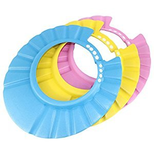 Dianoo Children Baby Kids Waterproof Bathing Cap Shampoo Shower Protect Hat Adjustable Set of 3