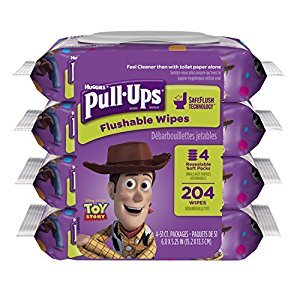 Pull ups Big Kid Flushable Wipes,51 Count, Pack of 4