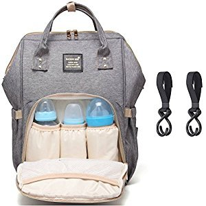 Diaper Bag Backpack for Baby Care, Multi-Functional Waterproof Travel Backpack Nappy Tote Bags Large Capacity Creative Fashion Package Best Gift for Mom&Dad (Grey)