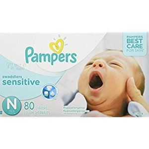 Pampers Swaddlers SENSITIVE Disposable Baby Diapers Size N for Newborn (< 4.5 kg), Super Pack, 80 Count