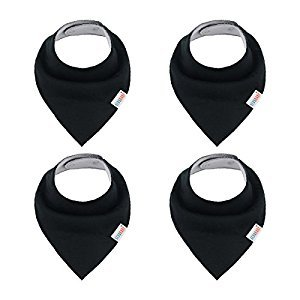 ALVABABY Stylish Unisex Baby Bandana Drool Black Bibs for Boys and Girls 4 Pack of Super Absorbent Baby Gift Settings KSD08-CA