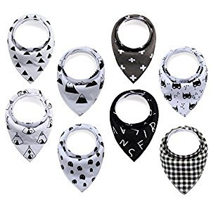 Baby Bandana Drool Bibs, 8 Pack Unisex Gift Set For Drooling and Teething, Soft and Absorbent, Hypoallergenic, Organic Cotton Baby Bibs For Boys and Girls